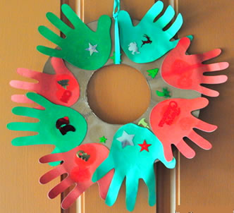 Christmas Wreaths made with hand prints craft