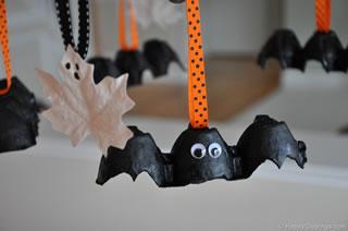 Egg carton bat decorations